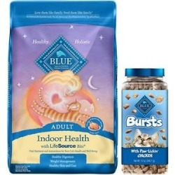 Blue Buffalo Indoor Health Chicken & Brown Rice Recipe Adult Dry Food + Bursts With Paw-Licken Chicken Cat Treats found on Bargain Bro from Chewy.com for USD $33.40