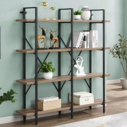 17 Stories Double Wide 4-Tier Bookcase Storage Organizer, Industrial Large Open Metal Bookshelf Furniture, Etagere For Home & Office | Wayfair found on Bargain Bro Philippines from Wayfair for $429.99