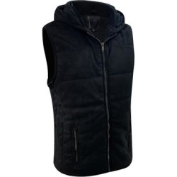 Men's Lightweight Front Zip Hooded Suede Vest Slim Fit Extra Small Black found on Bargain Bro Philippines from Overstock for $69.99
