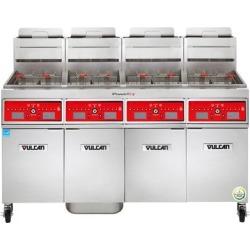 Vulcan 4VK85CF-2 PowerFry5 Liquid Propane 340-360 lb. 4 Unit Floor Fryer System with Computer Controls and KleenScreen Filtration - 360,000 BTU