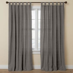 Wide Width Poly Cotton Canvas Tab-Top Panel by BrylaneHome in Charcoal (Size 48