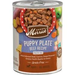 Merrick Grain Free Puppy Plate Beef Wet Puppy Food, 12.7 oz., Case of 12, 12 X 12.7 OZ