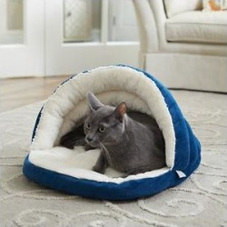 Frisco Slipper Cat & Dog Covered Bed, Blue found on Bargain Bro from Chewy.com for USD $15.95