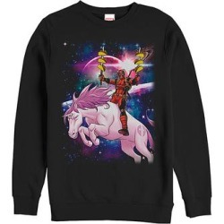 Fifth Sun Men's Sweatshirts and Hoodies BLACK - Deadpool Black Taco Unicorn Crewneck Sweatshirt - Men found on Bargain Bro from zulily.com for USD $15.19