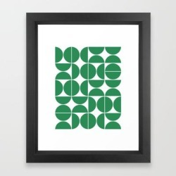 Framed Art Print | Mid Century Modern Geometric 04 Green by The Old Art Studio - Vector Black - X-Small-10x12 - Society6 found on Bargain Bro India from Society6 for $37.59