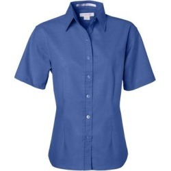 petite Women's Short Sleeve Stain Resistant Oxford Shirt (M - Light Blue)(cotton) found on Bargain Bro India from Overstock for $32.81