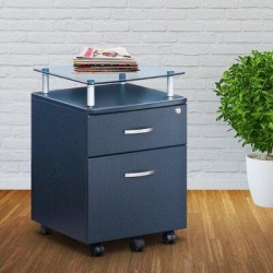 Inbox Zero 2- Drawer Glass Top Mobile File Cabinet w/ Lock, Vertical File Cabinet. Wood in Brown/Gray/Green, Size 24.0 H x 16.0 W x 16.5 D in found on Bargain Bro Philippines from Wayfair for $186.99