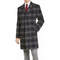 Tommy Hilfiger Mens Overcoat Gray Size 46R Long THFlex Stretch Plaid (46R), Men's(polyester) found on Bargain Bro Philippines from Overstock for $149.99