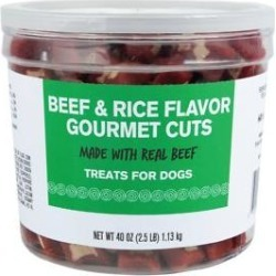 Meaty Treats Gourmet Beef & Rice Flavor Cuts Soft & Chewy Dog Treats, 40-oz canister