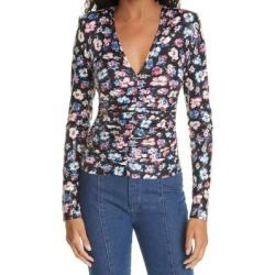 Sierra Floral Ruched Long Sleeve Top - Black - ROTATE BIRGER CHRISTENSEN Tops found on Bargain Bro from lyst.com for USD $114.00