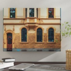 East Urban Home 'Facade' Photographic Print on Wrapped Canvas Canvas & Fabric in Brown/Yellow, Size 8.0 H x 8.0 W x 2.0 D in   Wayfair found on Bargain Bro Philippines from Wayfair for $76.99