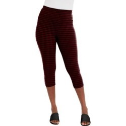 Plus Size Women's Everyday Capri Legging by Jessica London in Burgundy Houndstooth (Size 18/20) found on Bargain Bro Philippines from Ellos for $24.99