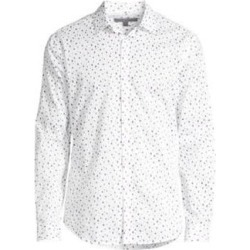 John Varvatos Mens White Printed Collared Classic Fit Shirt S found on MODAPINS from Overstock for USD $71.98