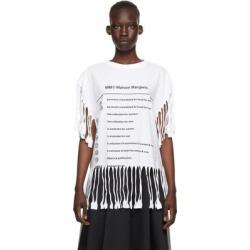 White Logo Fringe T-shirt - White - MM6 by Maison Martin Margiela Tops found on Bargain Bro from lyst.com for USD $205.20