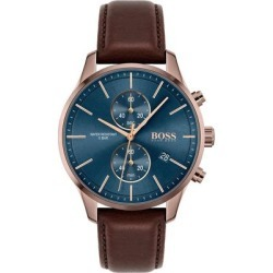 Chronograph Associate Brown Leather Strap Watch 42mm - Brown - BOSS by Hugo Boss Watches found on Bargain Bro India from lyst.com for $345.00