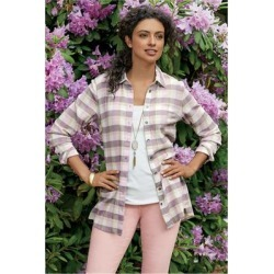 Women Kai Shirt by Soft Surroundings, in Lavender Plaid size 1X (18-20)