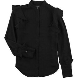 Ralph Lauren Womens Georgette Button Down Blouse, Black, X-Small (Black - XS), Women's(polyester, solid) found on Bargain Bro India from Overstock for $53.84