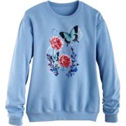 Women's Plus Graphic Sweatshirt, Light Blue/Garden 3XL found on Bargain Bro Philippines from Blair.com for $31.99