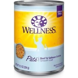 Wellness Complete Health Beef & Salmon Formula Grain-Free Canned Cat Food, 12.5-oz, case of 12