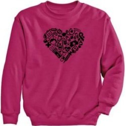Women's Heart Graphic Sweatshirt, Cyber Pink/Heart L Misses found on Bargain Bro Philippines from Blair.com for $24.99