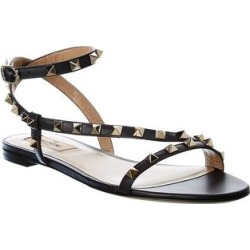 Valentino Rockstud Leather Sandal (37.5), Women's, Black found on Bargain Bro Philippines from Overstock for $658.90