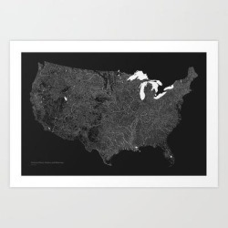 Art Print | American Rivers, Streams, And Waterways by Kieran Healy - X-Small - Society6 found on Bargain Bro from Society6 for USD $11.54