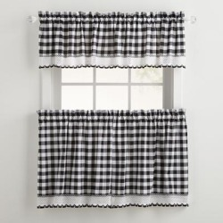 Wide Width Buffalo Check Tier Curtain Set by BrylaneHome in Black White (Size 58
