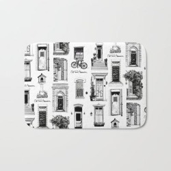 Bath Mat   Old Town Alexandria Repeat B&w by Emily Dere - 17