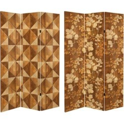 6 ft. Tall Double Sided Wood Inlay Pattern Canvas Room Divider found on Bargain Bro Philippines from Overstock for $186.49