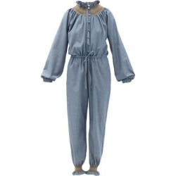 Cristina Smocked Cotton-chambray Jumpsuit - Blue - Loretta Caponi Jumpsuits found on Bargain Bro from lyst.com for USD $373.92