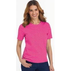 Women's Short-Sleeve Parfait Tee, Hot Pink Dot S Misses found on Bargain Bro from Blair.com for USD $11.39