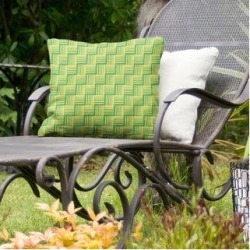 Rockport Color Contrast Basketweave Indoor/Outdoor Pillow by Havenside Home (16 x 16 - Green & Yellow - N/A), Multicolor(Synthetic Fiber, Stripe) found on Bargain Bro Philippines from Overstock for $49.49