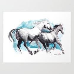 Horses (mom&kid) Art Print by Paper Horses - X-Small