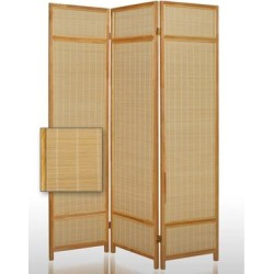 Wooden Frame 3 panel Foldable Screen with Bamboo Straw Details, Brown - 72 H x 2 W x 52 L Inches found on Bargain Bro Philippines from Overstock for $1079.58