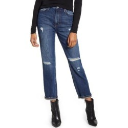 High Waist Ripped Straight Leg Ankle Jeans - Blue - Lee Jeans Jeans found on MODAPINS from lyst.com for USD $98.00