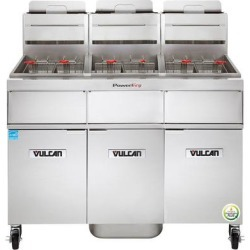 Vulcan 3VK45AF-1 PowerFry5 Natural Gas 135-150 lb. 3 Unit Floor Fryer System with Solid State Analog Controls and KleenScreen Filtration - 210,000 BTU