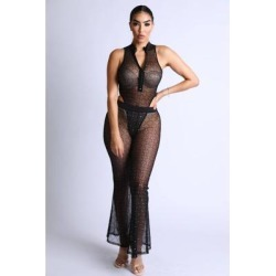 Diamond Mesh Bodysuit Set With Flared Pants found on Bargain Bro from Overstock for USD $36.10