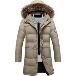 Long Down Coat Man Middle Old Age Khaki L (XXXL), Men's, Green found on MODAPINS from Overstock for USD $102.37