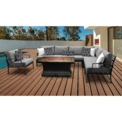 Lexington 8 Piece Outdoor Aluminum Patio Furniture Set 08g in Grey - TK Classics Lexington-08G-Grey