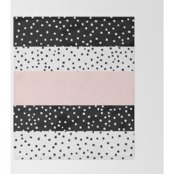 Modern Black White Blush Pink Polka Dots Bed Throw Blanket by Pink Water - 51
