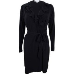 Calvin Klein Women's Ruffled Wrap Dress (8), Black(polyester) found on Bargain Bro from Overstock for USD $34.19