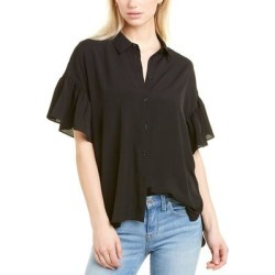French Connection Crepe Light Ruffle Top (XS), Women's, Black(polyester) found on MODAPINS from Overstock for USD $20.99