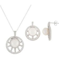 Pave Cz & 7.5-8mm Cultured Freshwater Pearl Necklace & Earrings Set - White - Splendid Necklaces found on Bargain Bro from lyst.com for USD $57.00
