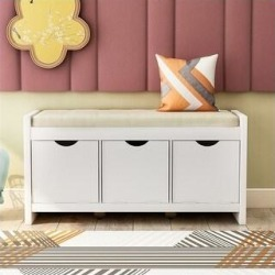 Storage Bench with Removale Cushion for Living Room (White)