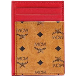 Mini Visetos Original & Leather Card Case - Red - MCM Wallets found on MODAPINS from lyst.com for USD $150.00