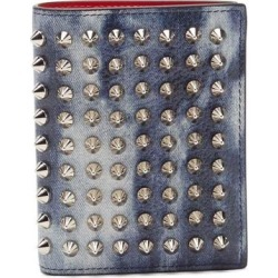 Spiked Denim-effect Leather Wallet - Blue - Christian Louboutin Wallets found on Bargain Bro from lyst.com for USD $342.00