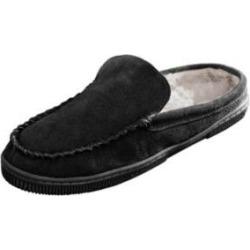 Men's Scandia Woods Suede Scuff Slippers, Black 13 W Wide