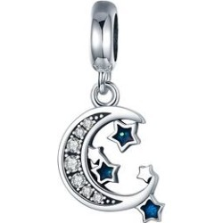 Silver Angle Women's Jewelry Charms solid - Blue Cubic Zirconia & Sterling Silver Moon & Stars Pendant Charm found on Bargain Bro Philippines from zulily.com for $12.99