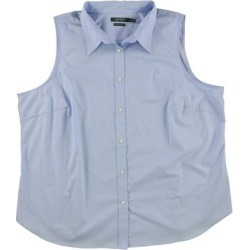 Ralph Lauren Womens Sleeveless Button Up Shirt, Blue, 3X found on Bargain Bro Philippines from Overstock for $41.54