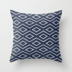Couch Throw Pillow | Stitch Diamond Tribal Print In Indigo by Becky Bailey - Cover (16